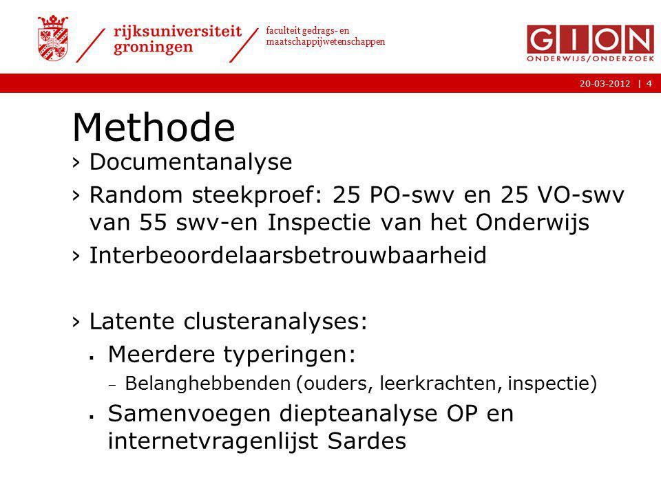 |20-03-2012 faculteit gedrags- en maatschappijwetenschappen Methode ›Documentanalyse ›Random steekproef: 25 PO-swv en 25 VO-swv van 55 swv-en Inspecti