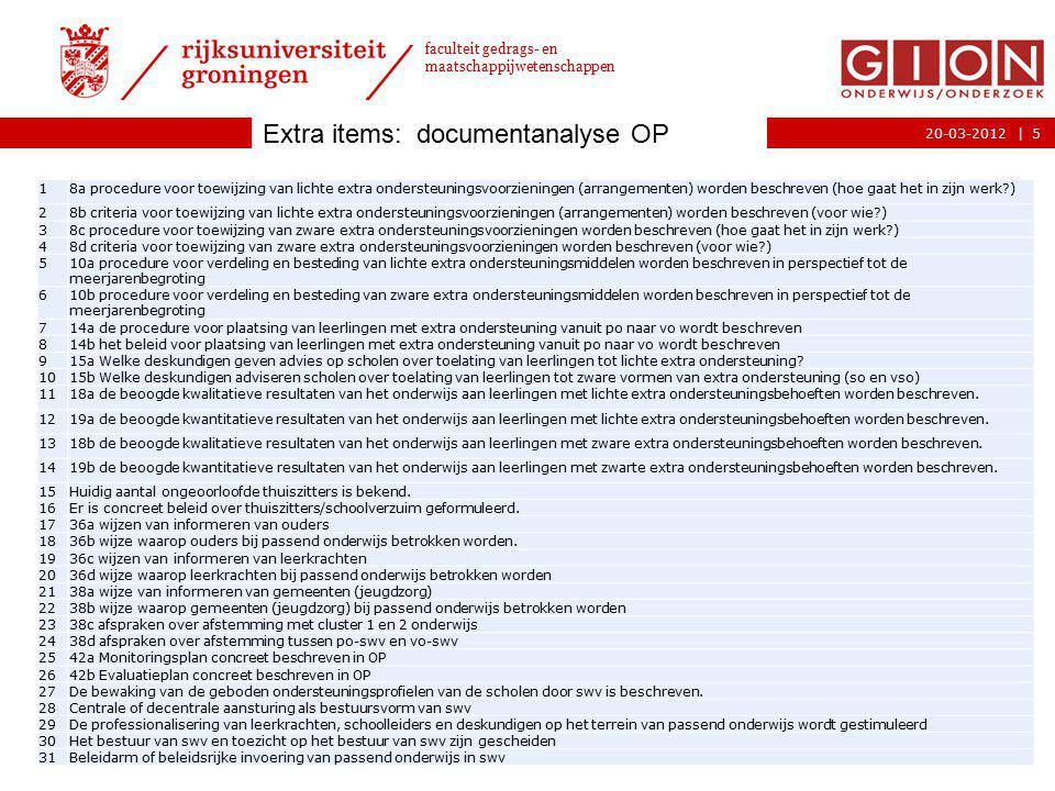 |20-03-2012 faculteit gedrags- en maatschappijwetenschappen 5 18a procedure voor toewijzing van lichte extra ondersteuningsvoorzieningen (arrangemente