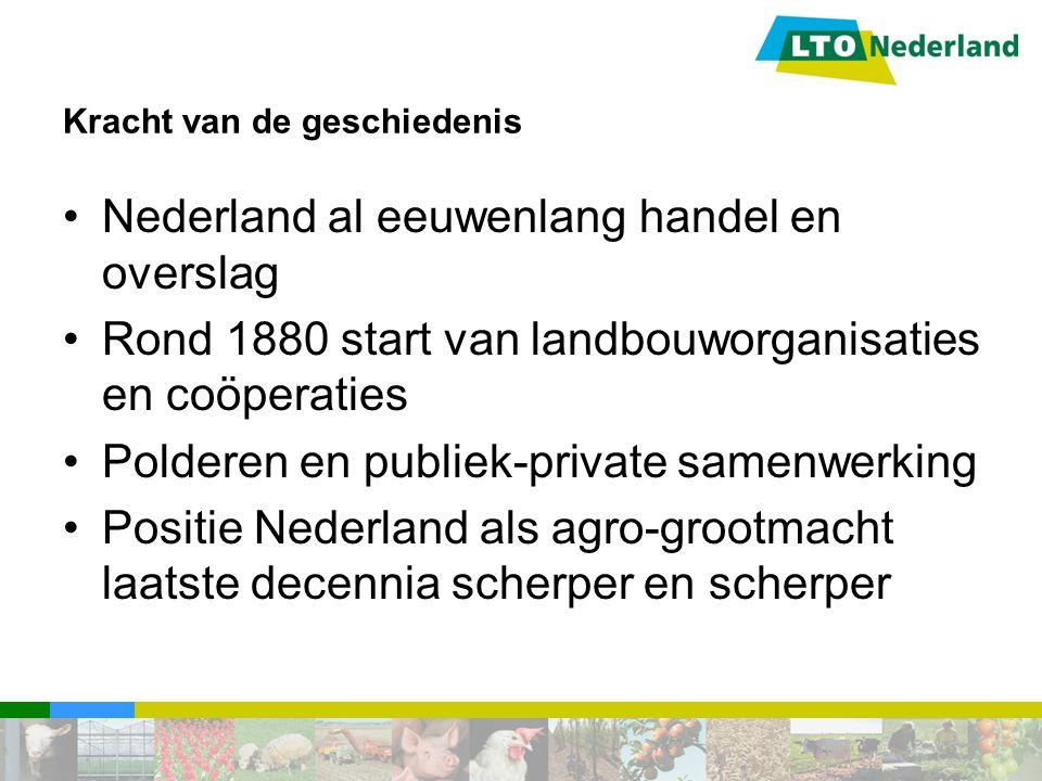 Kracht van de geschiedenis Nederland al eeuwenlang handel en overslag Rond 1880 start van landbouworganisaties en coöperaties Polderen en publiek-priv