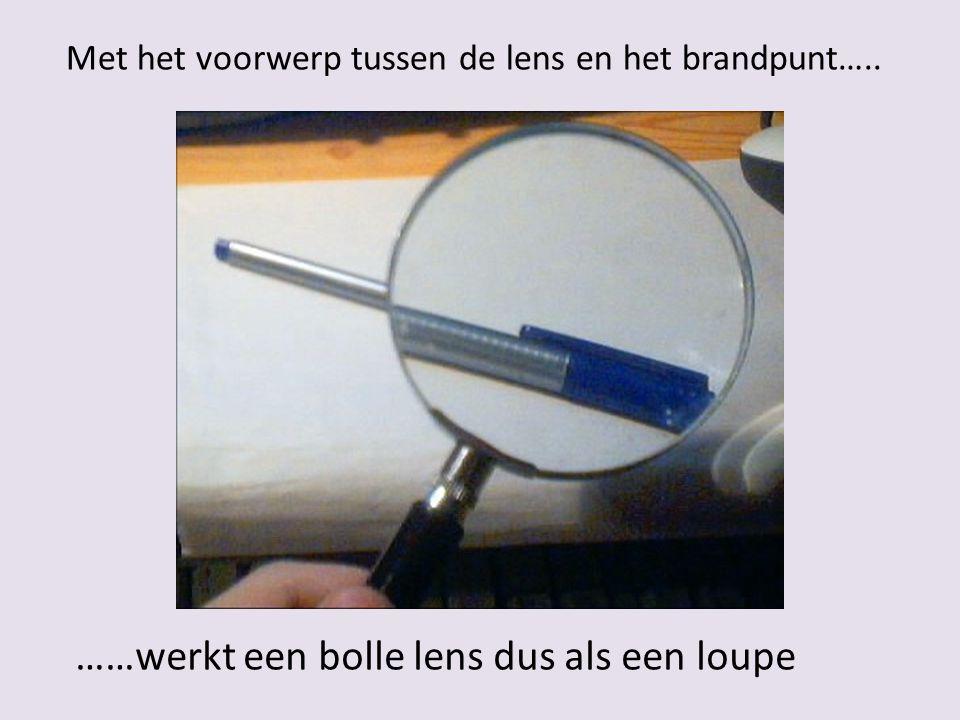 ……werkt een bolle lens dus als een loupe Met het voorwerp tussen de lens en het brandpunt…..