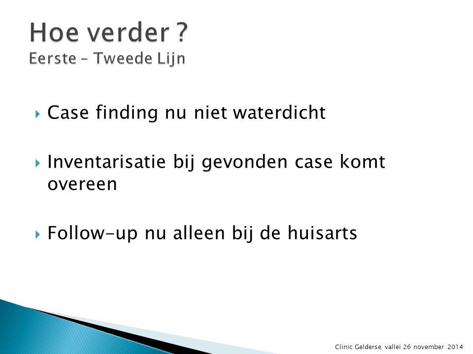  Case finding nu niet waterdicht  Inventarisatie bij gevonden case komt overeen  Follow-up nu alleen bij de huisarts Clinic Gelderse vallei 26 nove