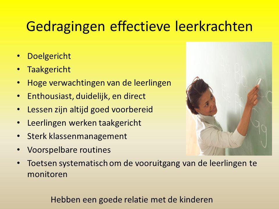 Hebben een goede relatie met de kinderen Gedragingen effectieve leerkrachten Doelgericht Taakgericht Hoge verwachtingen van de leerlingen Enthousiast,