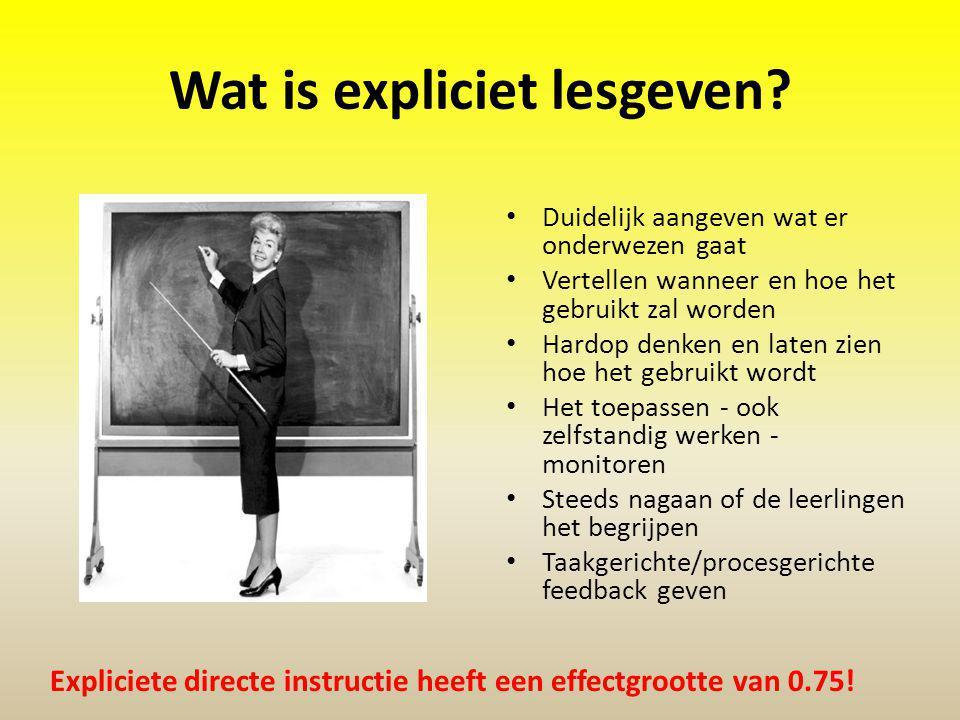 Wat is expliciet lesgeven? Duidelijk aangeven wat er onderwezen gaat Vertellen wanneer en hoe het gebruikt zal worden Hardop denken en laten zien hoe