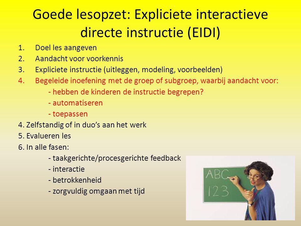 Goede lesopzet: Expliciete interactieve directe instructie (EIDI) 1.Doel les aangeven 2.Aandacht voor voorkennis 3.Expliciete instructie (uitleggen, m