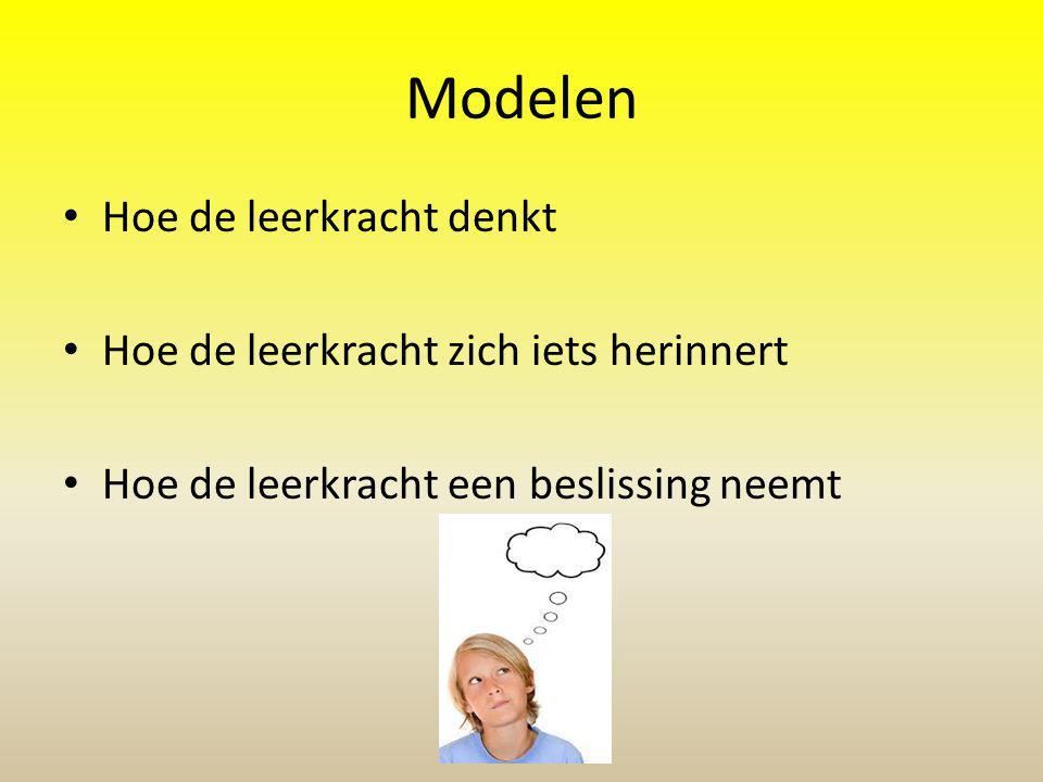 Modelen Hoe de leerkracht denkt Hoe de leerkracht zich iets herinnert Hoe de leerkracht een beslissing neemt