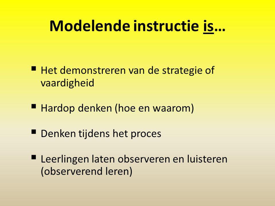 Modelende instructie is…  Het demonstreren van de strategie of vaardigheid  Hardop denken (hoe en waarom)  Denken tijdens het proces  Leerlingen laten observeren en luisteren (observerend leren)