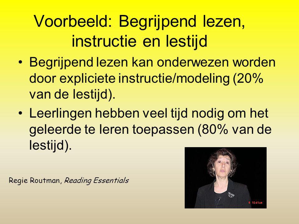 Voorbeeld: Begrijpend lezen, instructie en lestijd Begrijpend lezen kan onderwezen worden door expliciete instructie/modeling (20% van de lestijd). Le