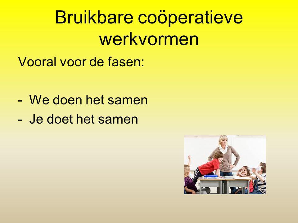 Bruikbare coöperatieve werkvormen Vooral voor de fasen: -We doen het samen -Je doet het samen