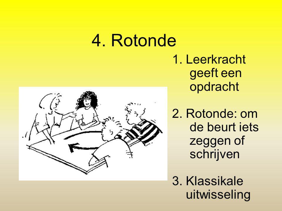 4. Rotonde 1. Leerkracht geeft een opdracht 2. Rotonde: om de beurt iets zeggen of schrijven 3. Klassikale uitwisseling