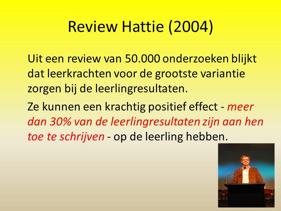 Review Hattie (2004) Uit een review van 50.000 onderzoeken blijkt dat leerkrachten voor de grootste variantie zorgen bij de leerlingresultaten. Ze kun