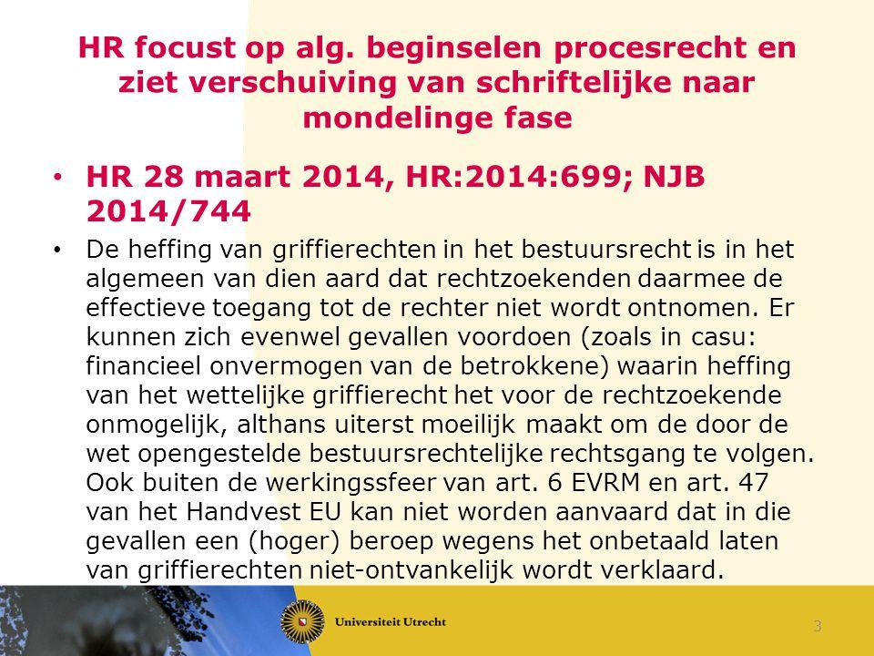 HR 28 maart 2014, HR:2014:736; JBPr 2014, 48; NJ 2014/525; NJB 2014/731 (Severijnen c.s./Gemeente De Bilt) Een vordering tot vergoeding van immateriële schade wegens een onredelijk lange duur van een civiele procedure moet worden ingesteld in een afzonderlijke procedure tegen de Staat.