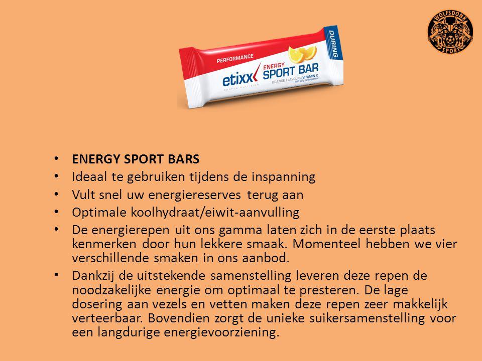 ENERGY SPORT BARS Ideaal te gebruiken tijdens de inspanning Vult snel uw energiereserves terug aan Optimale koolhydraat/eiwit-aanvulling De energierep