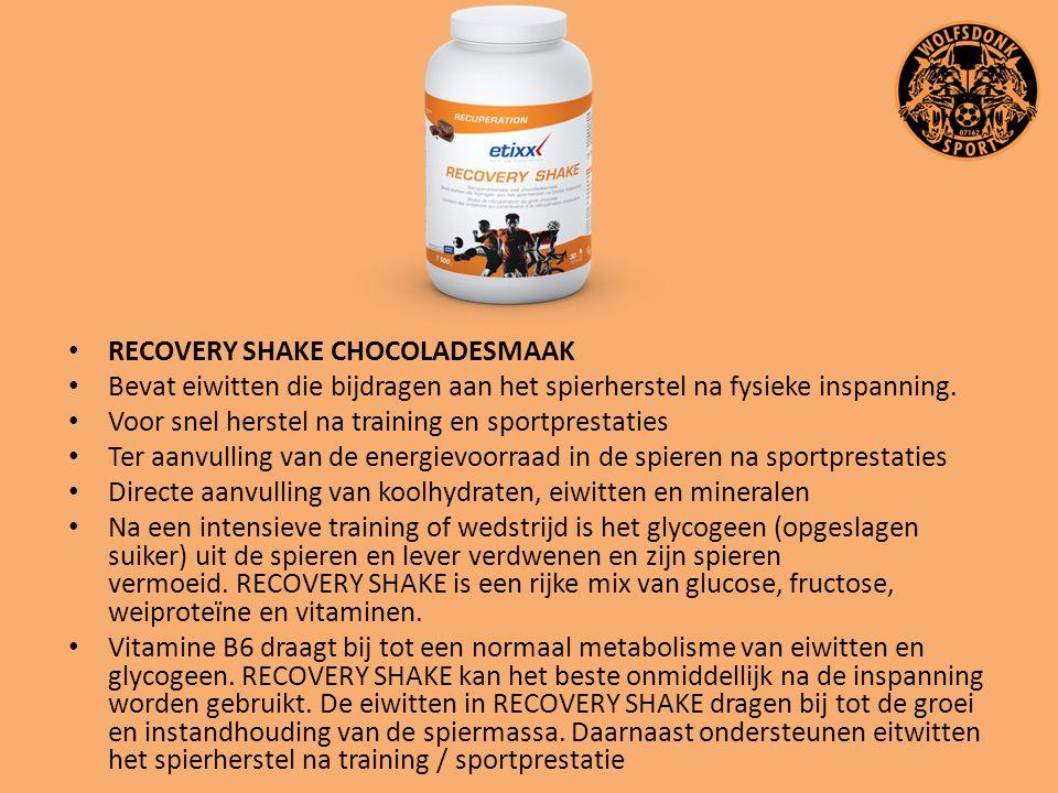 RECOVERY SHAKE CHOCOLADESMAAK Bevat eiwitten die bijdragen aan het spierherstel na fysieke inspanning. Voor snel herstel na training en sportprestatie