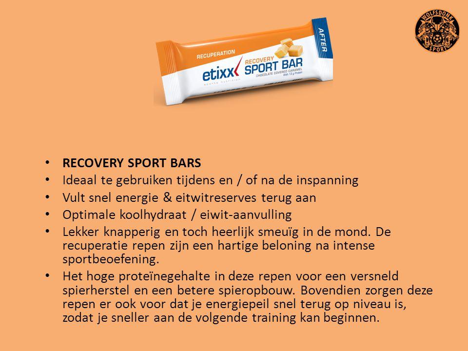 RECOVERY SPORT BARS Ideaal te gebruiken tijdens en / of na de inspanning Vult snel energie & eitwitreserves terug aan Optimale koolhydraat / eiwit-aan