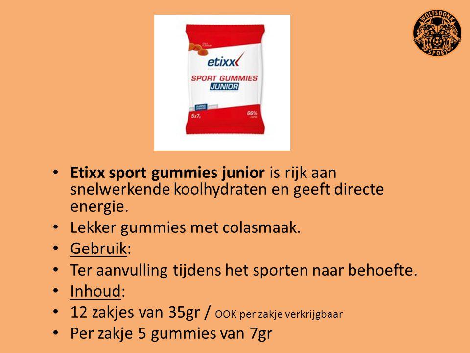 Etixx sport gummies junior is rijk aan snelwerkende koolhydraten en geeft directe energie. Lekker gummies met colasmaak. Gebruik: Ter aanvulling tijde