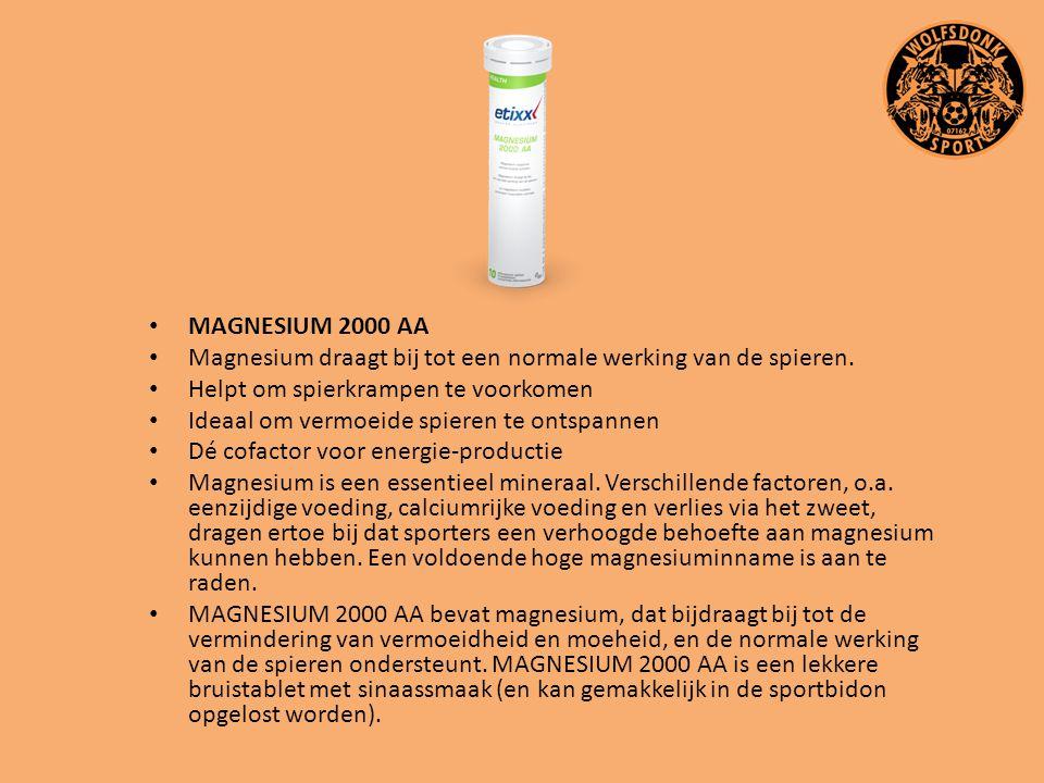 MAGNESIUM 2000 AA Magnesium draagt bij tot een normale werking van de spieren. Helpt om spierkrampen te voorkomen Ideaal om vermoeide spieren te ontsp