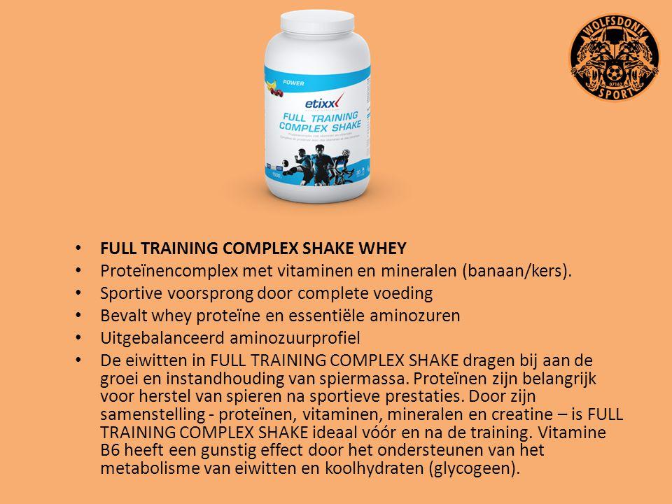 FULL TRAINING COMPLEX SHAKE WHEY Proteïnencomplex met vitaminen en mineralen (banaan/kers). Sportive voorsprong door complete voeding Bevalt whey prot