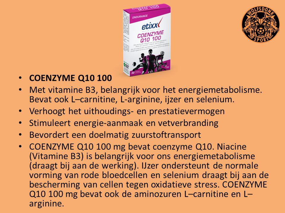 COENZYME Q10 100 Met vitamine B3, belangrijk voor het energiemetabolisme. Bevat ook L–carnitine, L-arginine, ijzer en selenium. Verhoogt het uithoudin