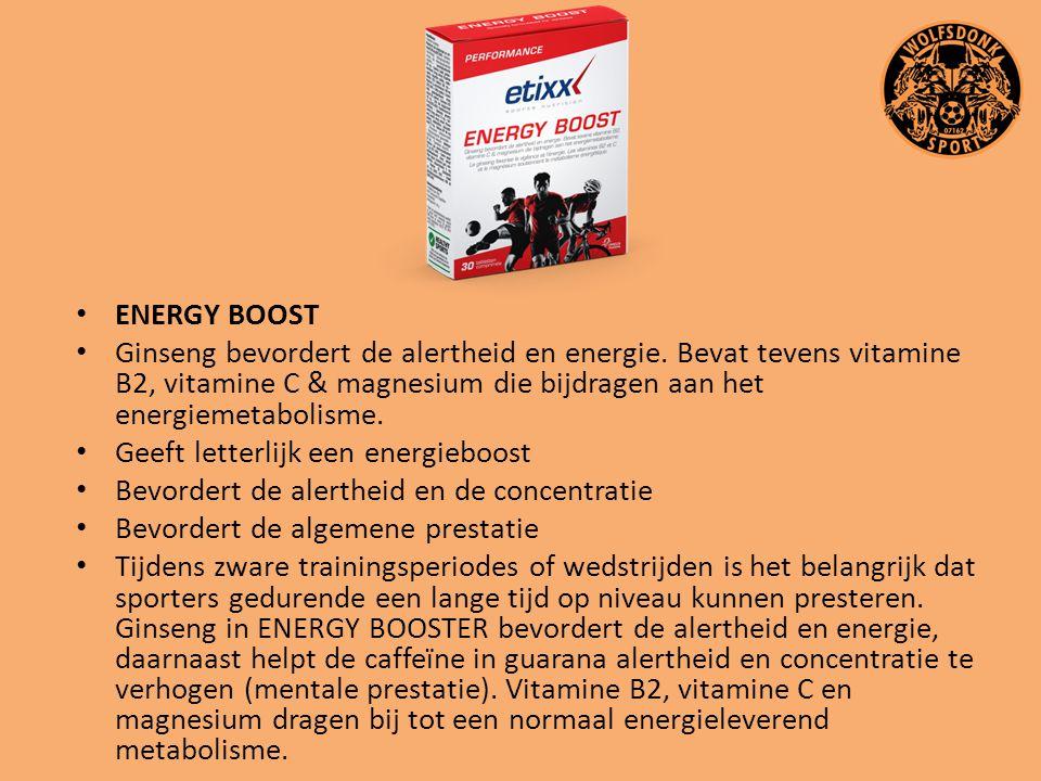 ENERGY BOOST Ginseng bevordert de alertheid en energie. Bevat tevens vitamine B2, vitamine C & magnesium die bijdragen aan het energiemetabolisme. Gee