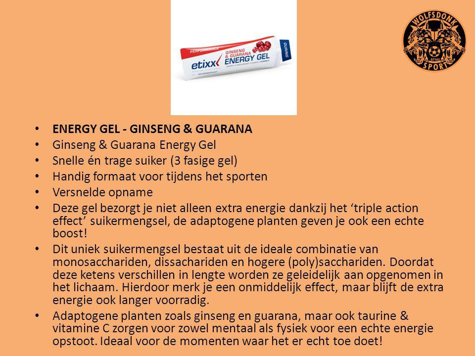 ENERGY GEL - GINSENG & GUARANA Ginseng & Guarana Energy Gel Snelle én trage suiker (3 fasige gel) Handig formaat voor tijdens het sporten Versnelde op