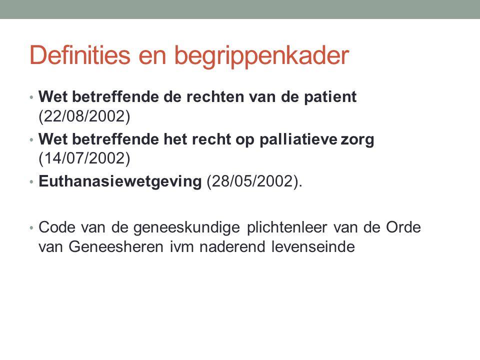 Definities en begrippenkader Wet betreffende de rechten van de patient (22/08/2002) Wet betreffende het recht op palliatieve zorg (14/07/2002) Euthanasiewetgeving (28/05/2002).