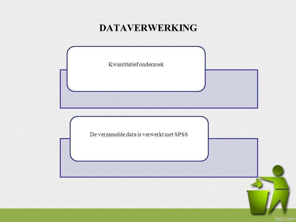 DATAVERWERKING Kwantitatief onderzoekDe verzamelde data is verwerkt met SPSS