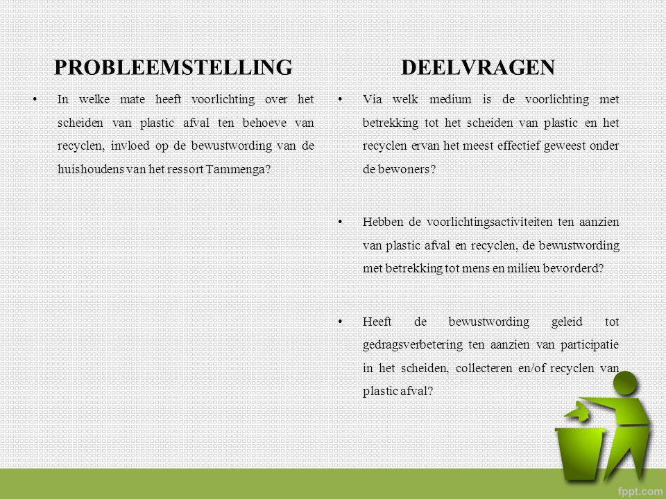 PROBLEEMSTELLING In welke mate heeft voorlichting over het scheiden van plastic afval ten behoeve van recyclen, invloed op de bewustwording van de hui
