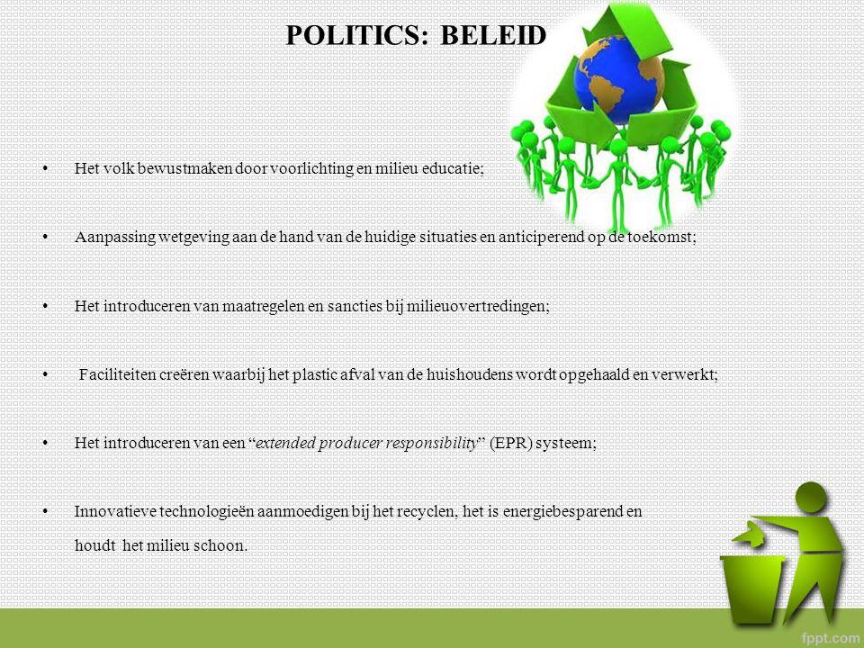 POLITICS: BELEID Het volk bewustmaken door voorlichting en milieu educatie; Aanpassing wetgeving aan de hand van de huidige situaties en anticiperend