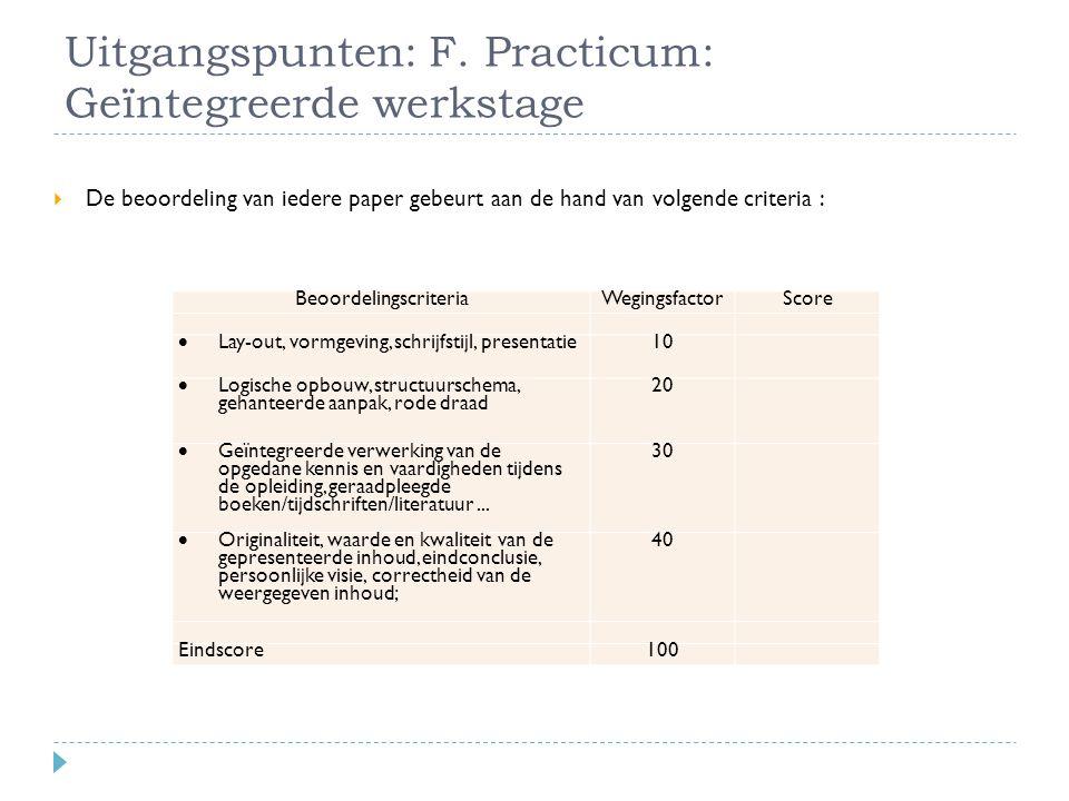 Uitgangspunten: F. Practicum: Geïntegreerde werkstage BeoordelingscriteriaWegingsfactorScore  Lay-out, vormgeving, schrijfstijl, presentatie 10  Log