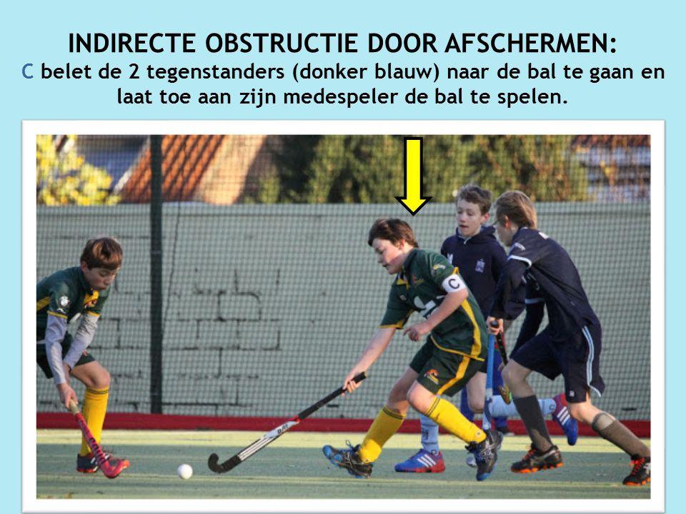 INDIRECTE OBSTRUCTIE DOOR AFSCHERMEN: C belet de 2 tegenstanders (donker blauw) naar de bal te gaan en laat toe aan zijn medespeler de bal te spelen.