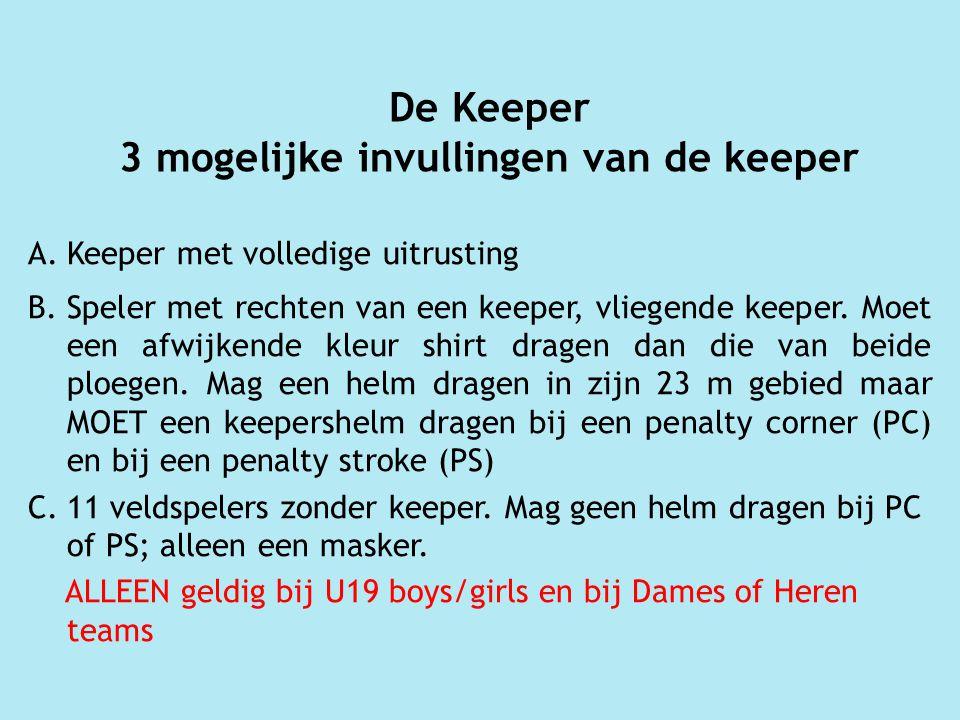 De Keeper 3 mogelijke invullingen van de keeper A.Keeper met volledige uitrusting B.Speler met rechten van een keeper, vliegende keeper.