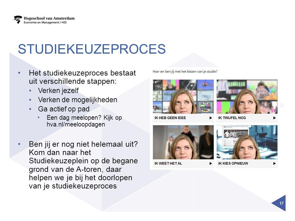STUDIEKEUZEPROCES Het studiekeuzeproces bestaat uit verschillende stappen: Verken jezelf Verken de mogelijkheden Ga actief op pad Een dag meelopen.