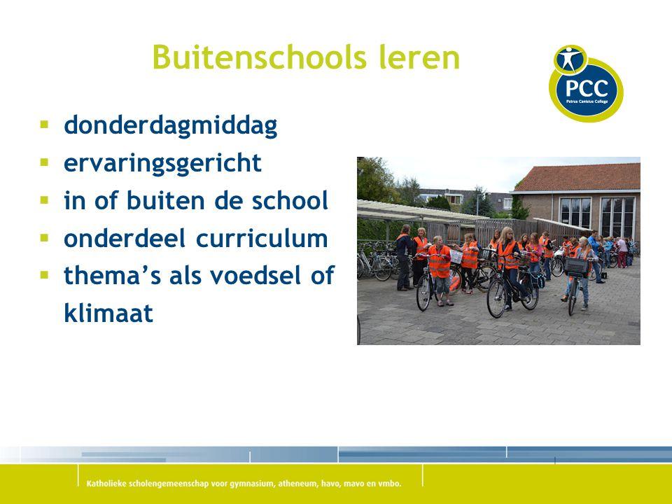 Buitenschools leren  donderdagmiddag  ervaringsgericht  in of buiten de school  onderdeel curriculum  thema's als voedsel of klimaat