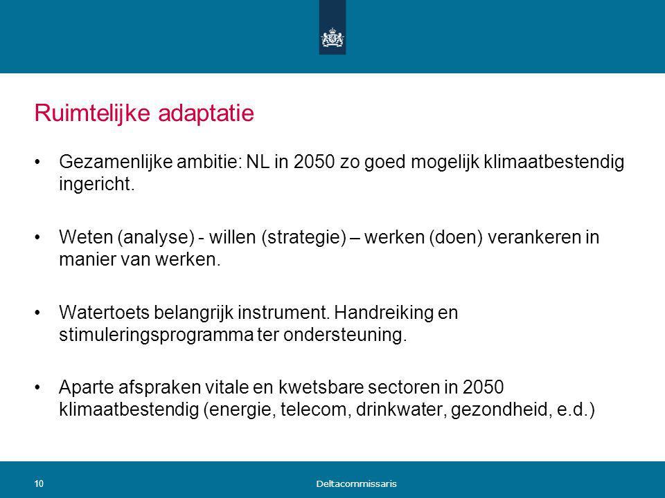 Ruimtelijke adaptatie Gezamenlijke ambitie: NL in 2050 zo goed mogelijk klimaatbestendig ingericht. Weten (analyse) - willen (strategie) – werken (doe