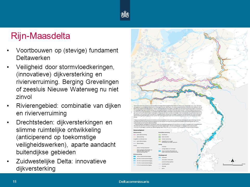 Rijn-Maasdelta Voortbouwen op (stevige) fundament Deltawerken Veiligheid door stormvloedkeringen, (innovatieve) dijkversterking en rivierverruiming. B
