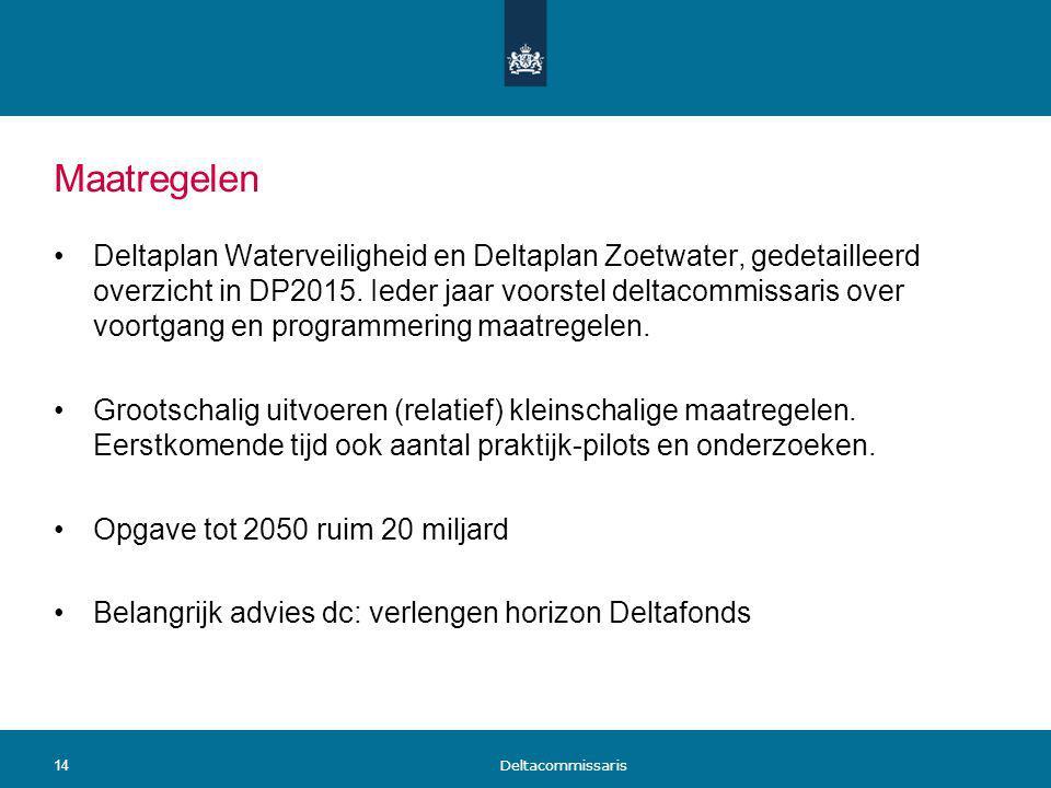 Maatregelen Deltaplan Waterveiligheid en Deltaplan Zoetwater, gedetailleerd overzicht in DP2015. Ieder jaar voorstel deltacommissaris over voortgang e