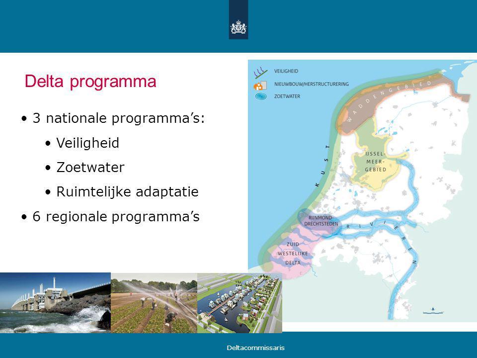 Delta programma 3 nationale programma's: Veiligheid Zoetwater Ruimtelijke adaptatie 6 regionale programma's Deltacommissaris
