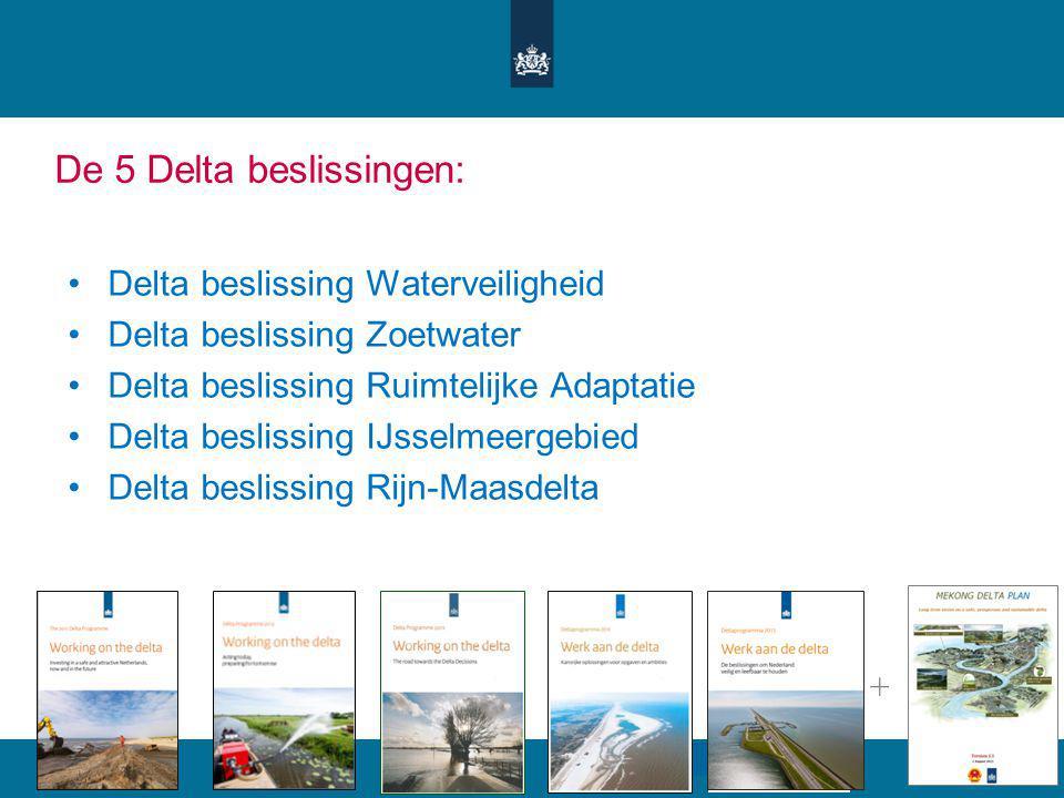 De 5 Delta beslissingen: Delta beslissing Waterveiligheid Delta beslissing Zoetwater Delta beslissing Ruimtelijke Adaptatie Delta beslissing IJsselmee