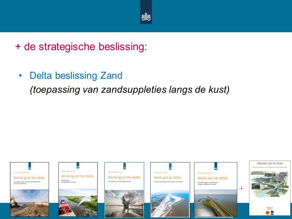 + de strategische beslissing: Delta beslissing Zand (toepassing van zandsuppleties langs de kust) +