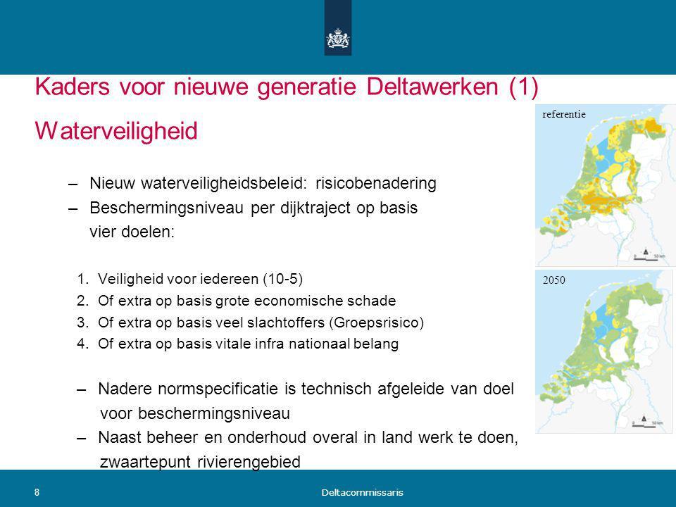 Kaders voor nieuwe generatie Deltawerken (1) Waterveiligheid –Nieuw waterveiligheidsbeleid: risicobenadering –Beschermingsniveau per dijktraject op ba