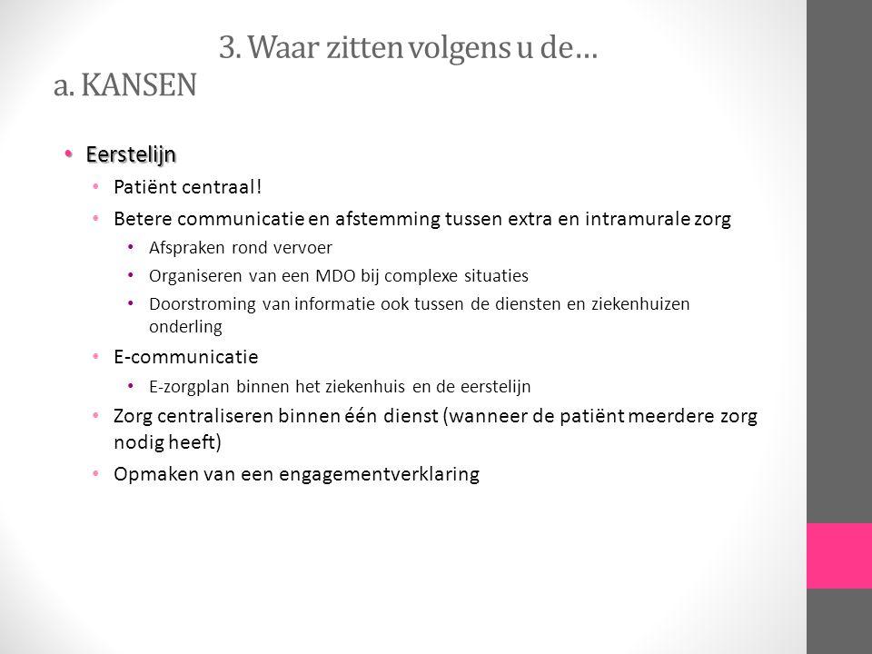 3. Waar zitten volgens u de… Eerstelijn Eerstelijn Patiënt centraal! Betere communicatie en afstemming tussen extra en intramurale zorg Afspraken rond