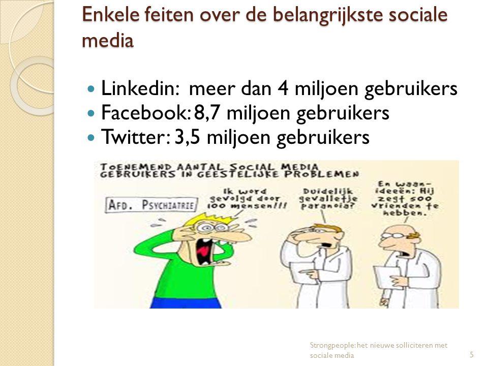 Enkele feiten over de belangrijkste sociale media Linkedin: meer dan 4 miljoen gebruikers Facebook: 8,7 miljoen gebruikers Twitter: 3,5 miljoen gebrui