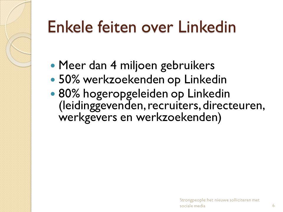 Enkele feiten over Linkedin Meer dan 4 miljoen gebruikers 50% werkzoekenden op Linkedin 80% hogeropgeleiden op Linkedin (leidinggevenden, recruiters,