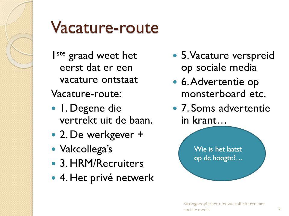 Vacature-route Vacature-route 1 ste graad weet het eerst dat er een vacature ontstaat Vacature-route: 1. Degene die vertrekt uit de baan. 2. De werkge