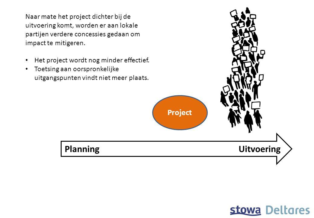 Project PlanningUitvoering Naar mate het project dichter bij de uitvoering komt, worden er aan lokale partijen verdere concessies gedaan om impact te