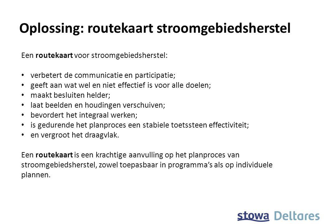 Oplossing: routekaart stroomgebiedsherstel Een routekaart voor stroomgebiedsherstel: verbetert de communicatie en participatie; geeft aan wat wel en n