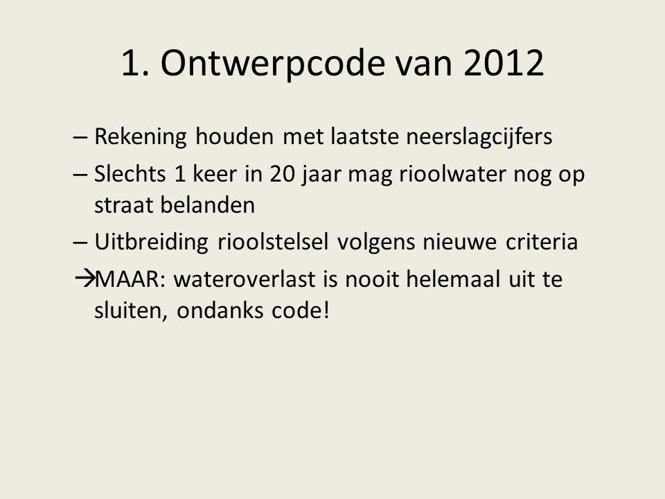1. Ontwerpcode van 2012 – Rekening houden met laatste neerslagcijfers – Slechts 1 keer in 20 jaar mag rioolwater nog op straat belanden – Uitbreiding