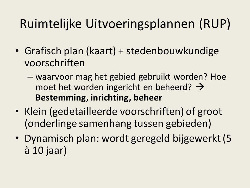 Ruimtelijke Uitvoeringsplannen (RUP) Grafisch plan (kaart) + stedenbouwkundige voorschriften – waarvoor mag het gebied gebruikt worden? Hoe moet het w