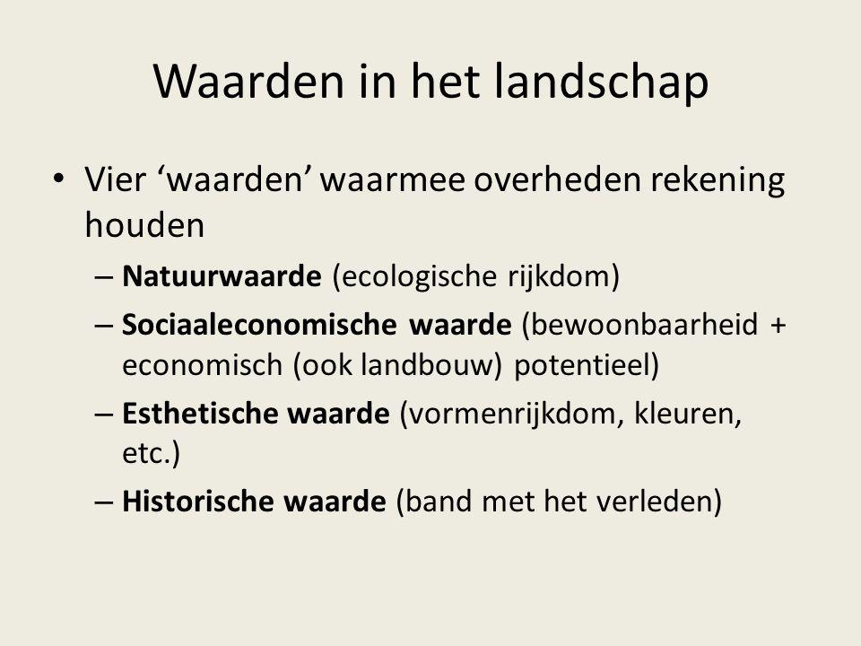 Waarden in het landschap Vier 'waarden' waarmee overheden rekening houden – Natuurwaarde (ecologische rijkdom) – Sociaaleconomische waarde (bewoonbaar