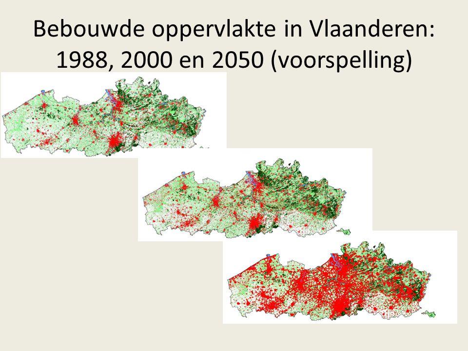 Bebouwde oppervlakte in Vlaanderen: 1988, 2000 en 2050 (voorspelling)